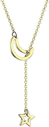 NC190 Collar Hermoso Simple Mujeres S Collar De Cadena De Estrellas De Luna De Titanio