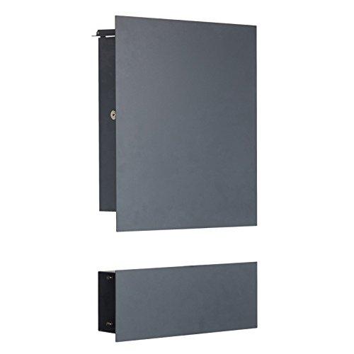 Edelstahl Briefkasten RAL 7016 anthrazitgrau - Designer Modell 138-7016 mit Zeitungsfach zur Wandmontage (Türanschlag rechts/Schloß links)
