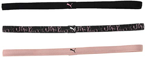 PUMA AT Sportbands Womens Pack (3pcs) Vincha, Mujeres, Black-Bridal Rose-AOP, UA