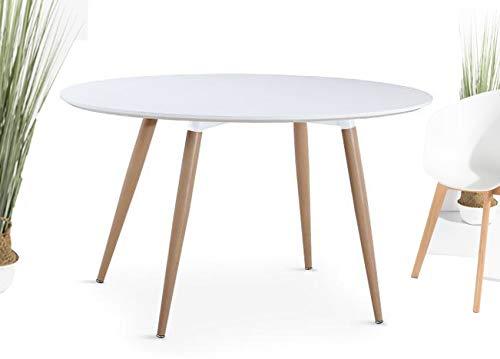 Kosmi - Table Ronde scandinave Blanche 6 Personnes diamètre 120cm, Table Ronde