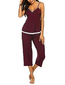 MATERIAL:Womens capri pajama sets is made of super soft and cozy fabric, skin friendly.Great item for sleepwear set, nightwear set or pj set. FEATURES:Womens pajama set featuring camisole top and capri pants, v neck, solid color,ruffle trim on neckli...