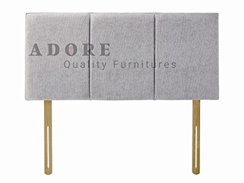 Divan Bed Headboard Alton Chenille 20' Height Padded Paneled Headboard (Light Grey, 3ft Single)