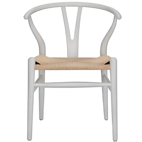 Wishbone Stuhl Y Stuhl Massivholz Esszimmerstühle Rattan Sessel Natur (Eschenholz - Weiß)