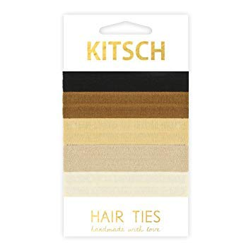 Kitsch 5 Piece Hair Ties Set, Soft Knotted Elastic Hair Ties, Prevent Ponytail Bumps and Breakage for All Hair Types (Back to Basics))
