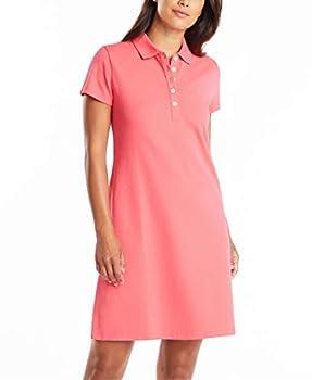 Nautica Women s Easy Classic Short Sleeve Stretch Cotton Polo Dress Rouge Pink Medium