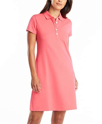 Nautica Women's Easy Classic Short Sleeve Stretch Cotton Polo Dress, Rouge Pink, Medium