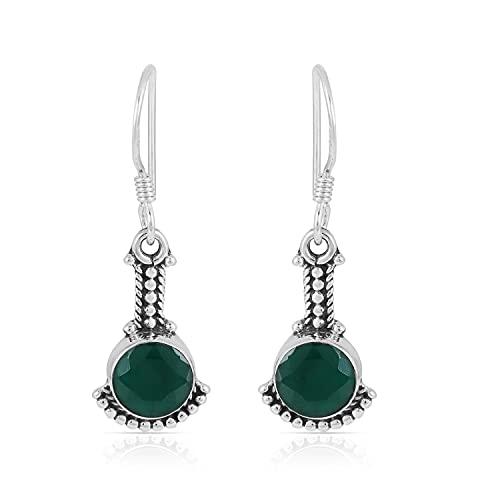 Gemshiner - Pendientes de plata de ley 925 con diseño de ónix verde hechos a mano para mujeres y niñas