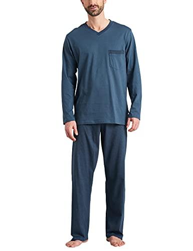 Schiesser Herren Schlafanzug lang Pyjamaset, Jeansblau, 60