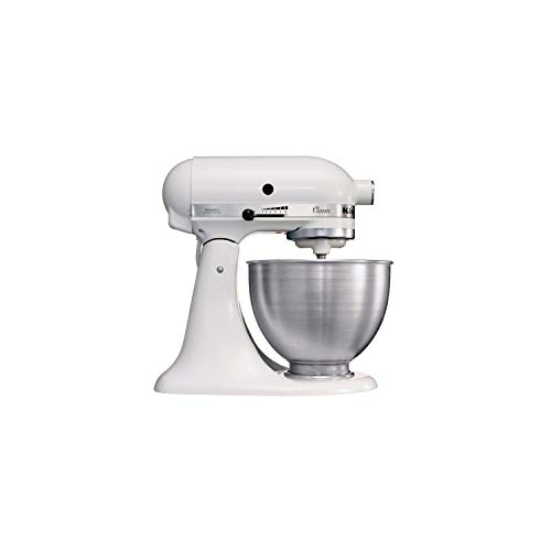 KitchenAid 5K45SSEWH robot da cucina classico, 10 velocità, 4.3 L, Bianco 36x37x23cm