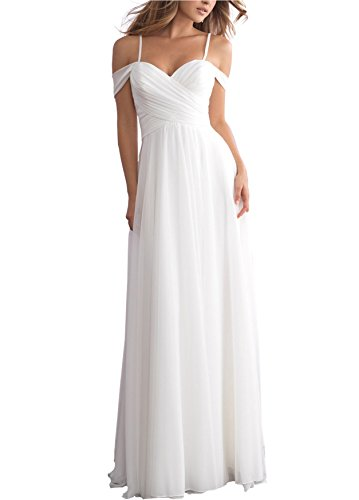 Women's A-line Off Shoulder Ruched Chiffon Beach Wedding Dress Long Bridal Gown S090