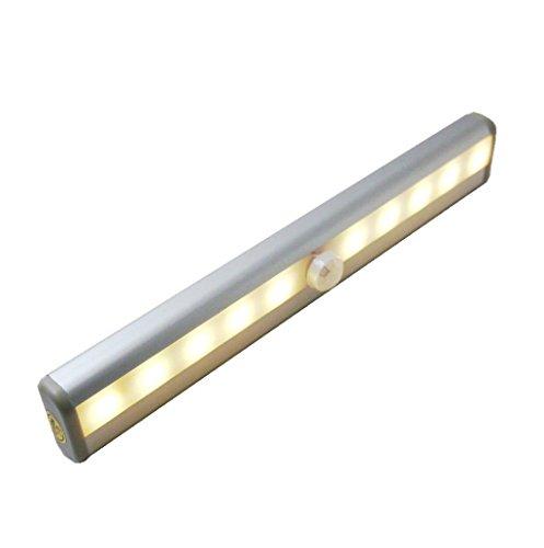 BearHoHo Aluminum Shell 10LED Wireless alimentata a Batteria con sensore luci, Luce Notturna Intelligente con Striscia Magnetica per Armadio/cassetto/Bar Set/Hotel Closet etc (Bianco Caldo)