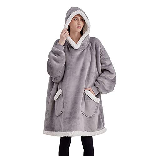 Bedsure Wearable Blanket Hoodie for Women Men Kids - Hooded Blanket Sweatshirt Standard with Deep...