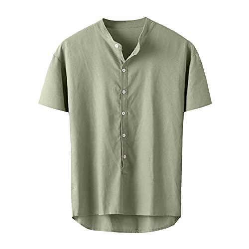 SSBZYES Camisa para Hombre Manga Corta Verano Cuello Alto Camiseta De Manga Corta De Color Sólido Camiseta...