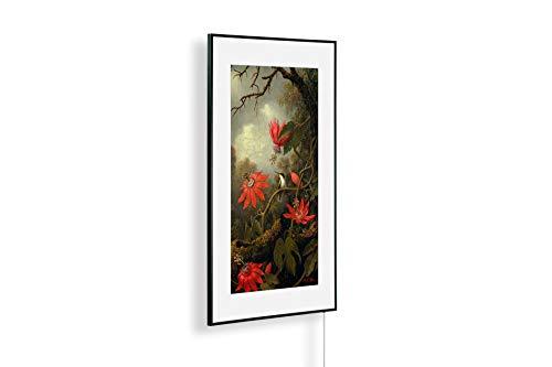 Könighaus Infrarotheizung – Kunstwerke/Gemälde mit Passepartout – TÜV/GS - 600 Watt - Schwarzer Rahmen (46. Martin Heade_ Hummingbird and Passionflowers)