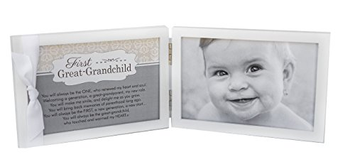 """First Grandchild Picture Frame- White Double Hinged Tabletop Photo Frame Holds 4""""x6"""" Pictures or Ultrasounds- Includes Beautiful Sentiment/Poem and Accented White Ribbon (Great Grandchild)"""