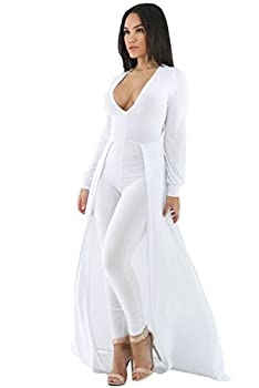Women s White Sexy Maxi Long Sleeve Overlay Elegant Party Pants Skirt Clubwear Romper Jumpsuit L