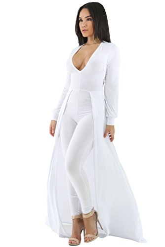 Women's White Sexy Maxi Long Sleeve Overlay Elegant Party Pants Skirt Clubwear Romper Jumpsuit M