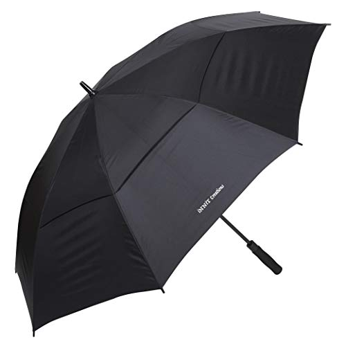Luxury 62 inch Large Oversized, Double Vented Canopy Golf Umbrella | 100% Waterproof, Windproof, Sun-proof | Automatic Open, Extra Strong Reinforced Fibreglass Frame | Men Women Ladies & Gents | Black