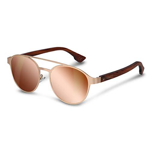 Navaris Gafas de sol estilo aviador- Gafas clásicas para hombre y mujer con patillas de madera y montura dorada - Lentes polarizadas UV400 con funda