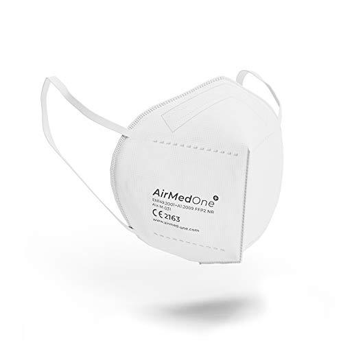 AirMedOne 20 Stück FFP2 Maske Atemschutzmaske CE zertifiziert 5-lagige Staubschutzmaske Atemmaske 3D Mundschutz Maske