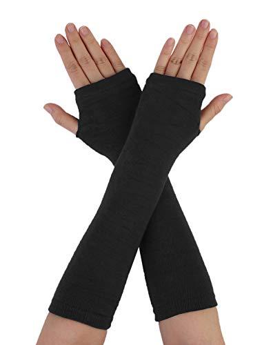 Sourcingmap Femmes hiver rayures coeur impression sans doigts trou de pouce élastique longs gants tricotés Noir Taille unique