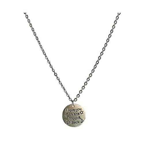 KGDC Collares Simplicidad Collar de Cadena de Acero de Titanio, Collar de Pareja de aleación de Forma Redonda Personalizada, te Quiero de aquí a la Luna Collars de Mujer (Size : 21.65in)