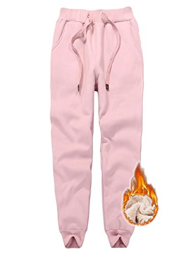 Jenkoon Womens Warm Fleece Sherpa Lined Sweatpants Drawstring Jogger Pant Trousers (Pink, Medium)