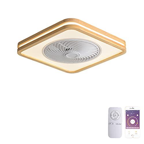 VOMI Ventilador de Techo con Luz de Madera Sala 72W Regulable LED con Mando a Distancia Luz del Ventilador Silenciar Delgada Cuadrado Moderno Minimalista Decoración para Cuarto Oficina