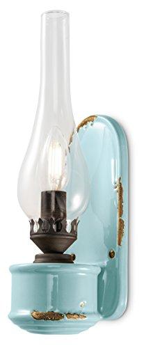 ferroluce Retro wandlamp met glas canfino E14, blauw