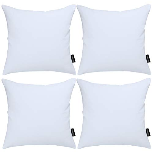 Faylapa 4Pcs White Canvas Cotton Pillow Covers,18 x 18 inch Solid Decorative Throw Pillow Cases,Christmas Living Room Car Office Decoration (Case ONLY)
