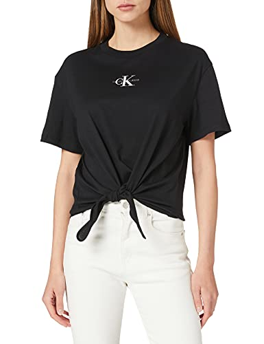 Calvin Klein Jeans Knotted Tee T-Shirt, CK Black, XS Donna