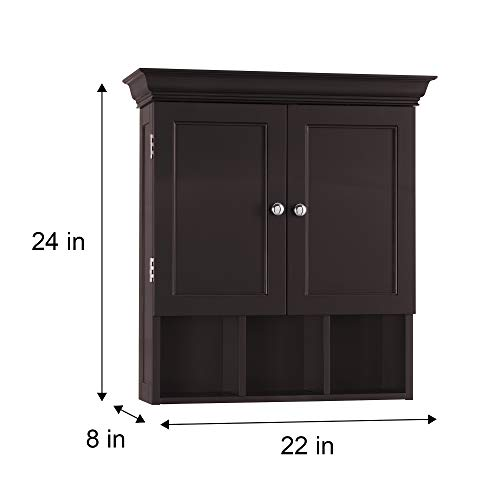 Elegant Home Fashion Stratford Wall Cabinet with 2 Door and 3 Open Compartments-Espresso