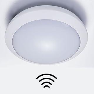 ZEYUN Lámpara LED de techo Plafón LED con detector de movimiento HF para interiores y exteriores, IP66 impermeable , 16W, ...