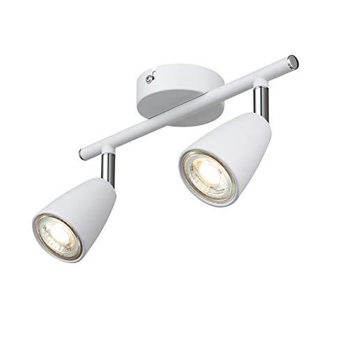 IMPTS LED Deckenleuchte weiss I Wohnzimmerlampe I Deckenlampe I Deckenstrahler I Deckenspot I 2-flammig Spotleuchte I Warmweiße Lichtfarbe I verstellbarer Spot I 1 x 3W GU10 250LM IP21 I Chrom