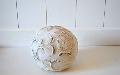 DEKO Kugel Keramik Dekokugel ca. 14cm Creme Shabby rustikal Ornament Blume Gartendeko Tischdeko Pflanzdeko Beetdeko