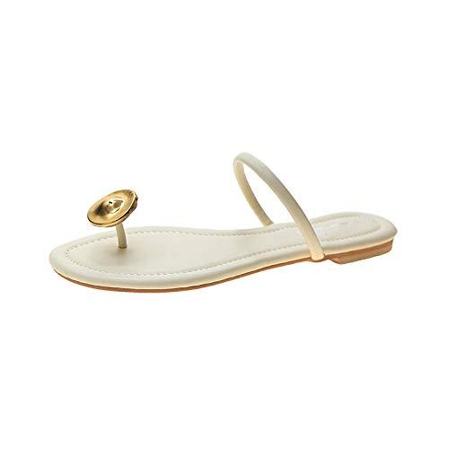 Frauen Keilsandalen,Flip-Toe-Sandalen für Damenoberbekleidung, Sommer-Flip-Flops-Weiß_35