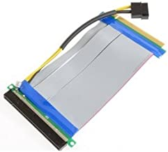 CY PCI-E Express 16X to 16x Riser Extender Card with Molex IDE Power & Ribbon Cable 20cm