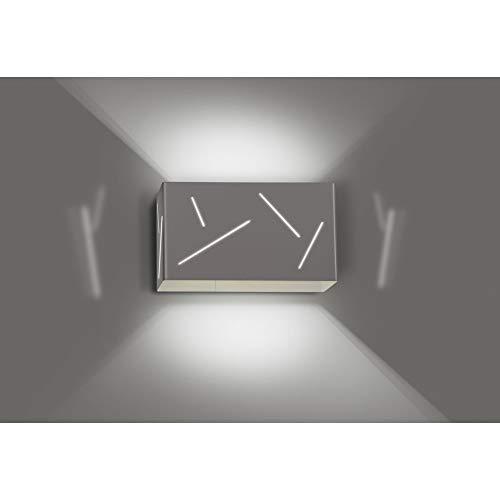 Lhg Lampada da Parete in Metallo, Incl. LED Luce Bianco Caldo, Rettangolare Lampada Parete Up & Down, Doppio Effetto Luminoso per Corridoio Corridoio Soggiorno