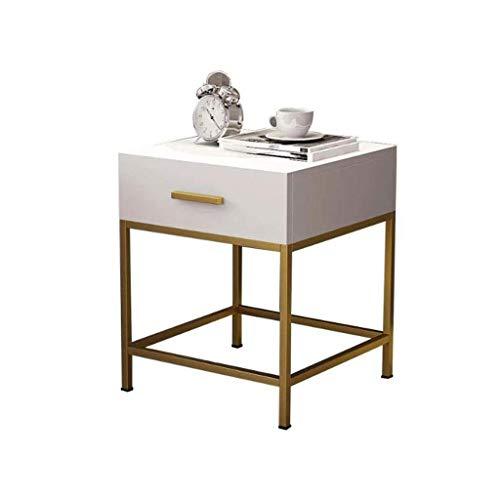 LY88 smeedijzer massief hout kleine vierkante zijtafel, eenvoudige opslag slaapkamer nachtkastje woonkamer bank tafel met lade, 50 * 45 * 55cm (kleur: wit)