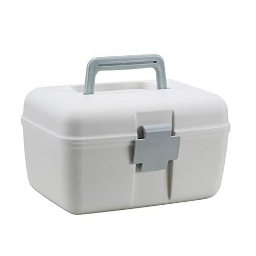 YLLN thuisapotheek doos, 2 niveaus medicijnkastje XXL draagbare medicijndoos huisapotheek EHBO-doos huisapotheek opslag blauw