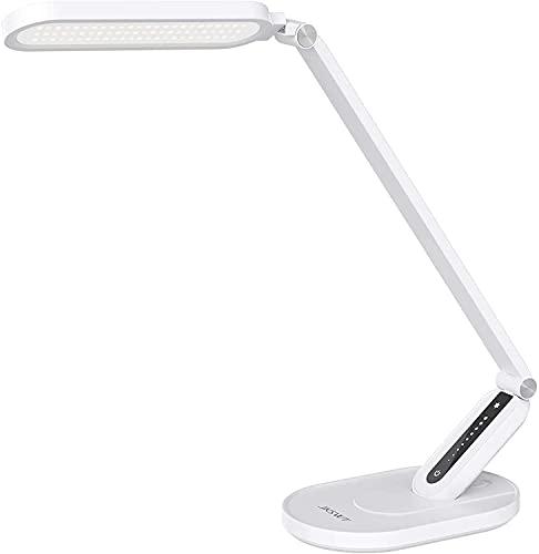 Lámpara de escritorio LED, JKSWT Lámparas de mesa para el cuidado de ojos protege los ojos Lámpara de oficina regulable con 5 modos de color Puerto de carga USB Control táctil y función de memoria