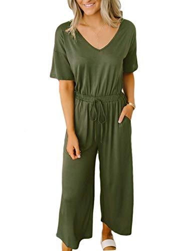ANRABESS Jumpsuits for Women V Neck Short Sleeve Wide Leg Capri Pants Jumpsuits Rompers 215junlv-S 05