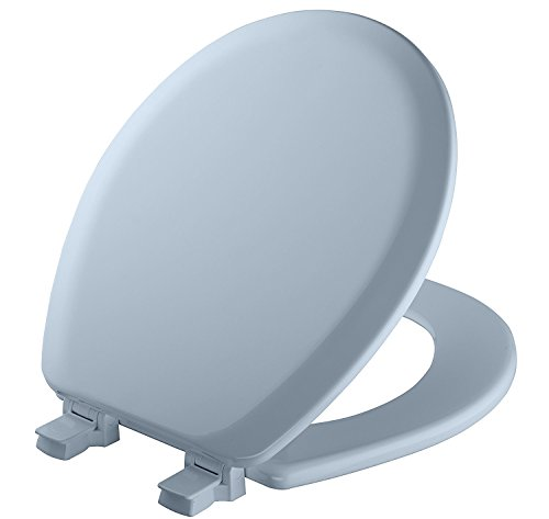 MAYFAIR 841EC 034 Cameron Toilet Seat will Never Loosen and Easily Remove, ROUND, Durable Enameled Wood, ROUND, Sky Blue