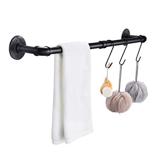 Toallero Tubular Estilo Retro,Toalleros de Baño Pared,85 cm,Toalleros de Baño Negros con 3 Ganchos,Para Baño y Cocina