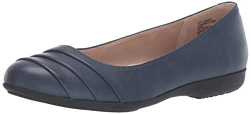 CLIFFS BY WHITE MOUNTAIN Clara Women's Ballet Flat, Navy/Burnished/Smooth, 9.5 W