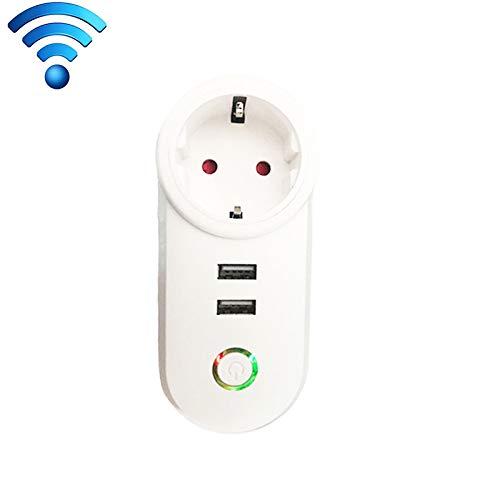 Intelligeintelligente wifi, Presa per presa di corrente Smart WiFi compatibile con Alexa e Google Home, AC 110 V-230 V 2 porte USB e 1 presa UE, intelligenti plug (Colore : Color1)