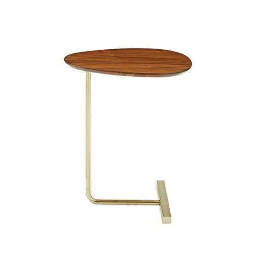 TangMengYun Table à café ovale simple et créative, table de lecture en bois massif en fer forgé côté canapé (Color : Wood color)
