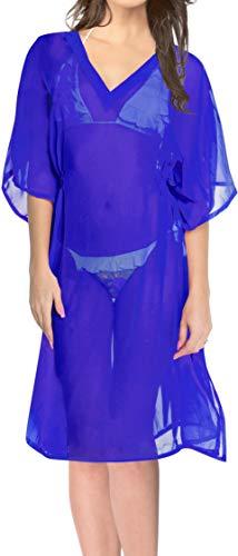 LA LEELA Damen Boho V-Ausschnitt Bikini Cover Up Strandkleid Sommerkleid Badeanzug Bikini Bluse Blau_J49 DE Größe: 32 (XS) - 44 (L)