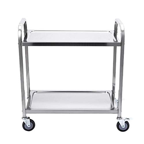 Edelstahlwagen, medizinische Servicewagen des Gebrauchsautos Behandlunglaborausrüstungslaufkatze-Schönheitssalonhotel-Werkzeuglaufkatze mit 2 ReihenYLXBH