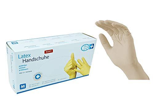 100 Stück Latexhandschuhe glatt in Spender-Box – puderfrei, nicht steril – Einweghandschuhe Einmalhandschuhe (M)